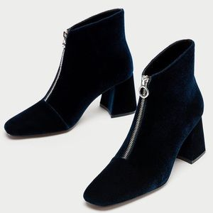 zara Chunky High Heel Ankle Boots With Zip In Blue